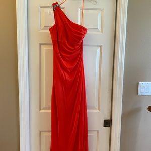 Lovely red orange one shoulder evening gown, 6